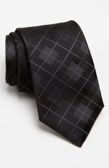 BOSS HUGO BOSS Woven Silk Tie. Razor-sharp checks pattern a sleek tie cut from pure silk.