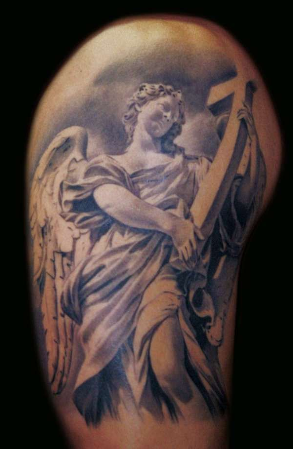 Sweet angel tattoo for men tattoo and rings pinterest for Warrior bible verse tattoos