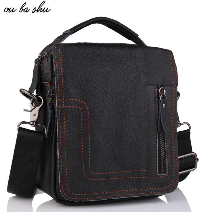 OU BA SHU Men's Natural Cowskin Small Travel Bag Man Genuine Leather Vintage Business Messenger Shoulder Bag For Man