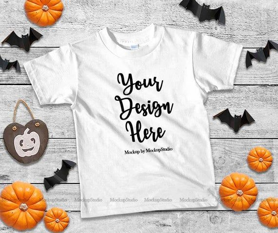 Download Halloween Kids White Tshirt Mockup Fall T Shirt Flat Lay Etsy Halloween Kids Design Mockup Free Mockup Free Psd