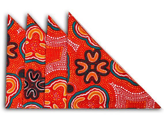 Australian Aboriginal Art Napkins Set of 4 by AboriginalOzArt