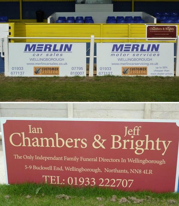 Digitally printed ACM perimeter signs, manufactured for Wellingborough Town Football Club advertising their sponsors #signage #football #wellingborough