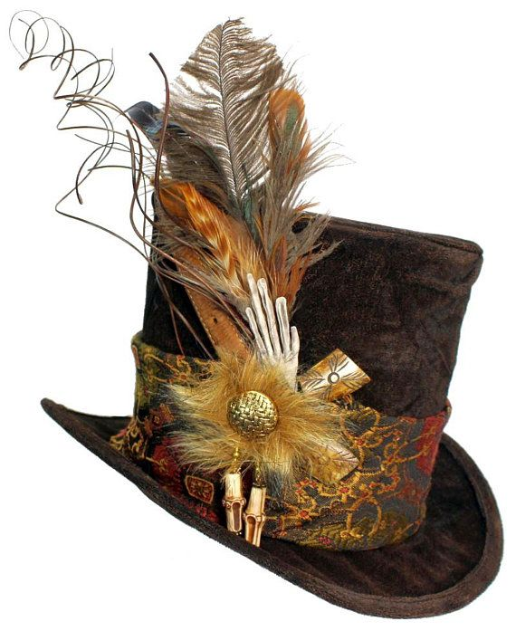 Black Top Hat With Skulls Steampunk Gothic Costume Voodoo Warlock Goth