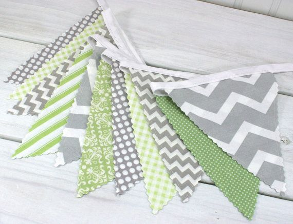Bunting Fabric Banner, Fabric Flags, Nursery Decor, Birthday Decoration, Baby Shower - Green,Grey, Gray, Chevron, Gingham