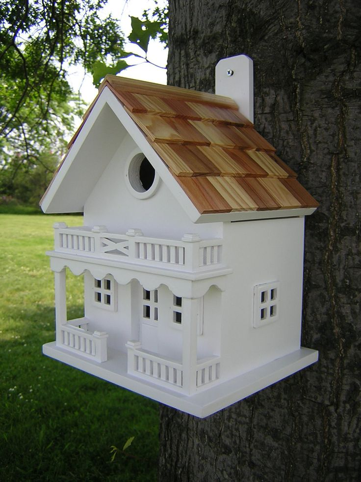 This two-story birdhouse features a pine shingled roof and window and door molding details. A removable back wall, drainage, ventilation, an unpainted interior and a 1.25 hole size will invite nesting