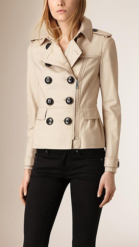 Stone Stretch Cotton Skirted Trench Jacket - Image 1