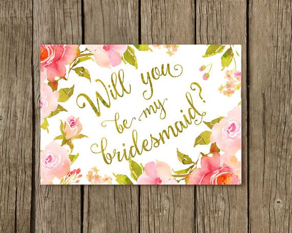Bridesmaid card, Wedding Card, Cards for Bridesmaids, Thank You Bridesmaid Cards, Boho wedding card, boho roses, Gold, Will you be my