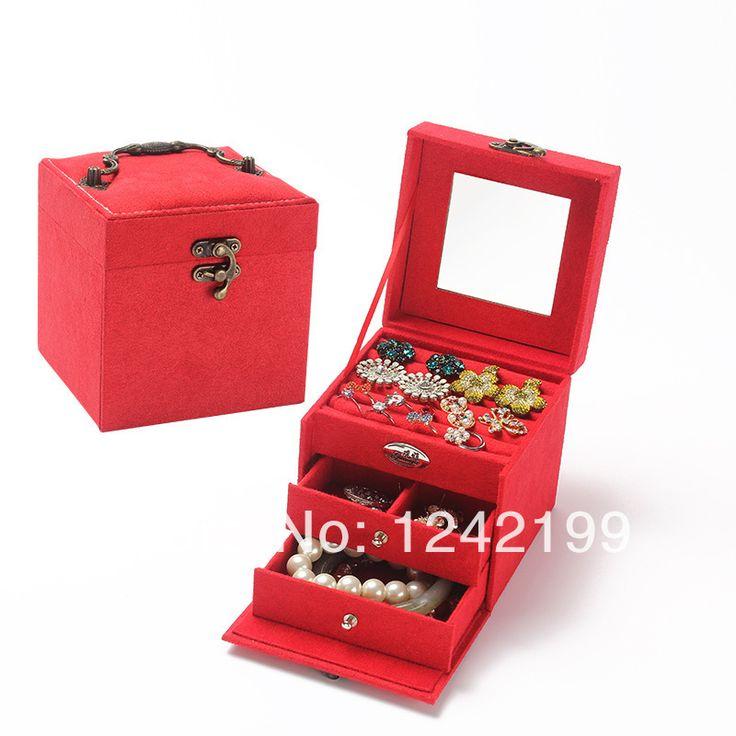 Шерсть ювелирных изделий коробки flannelet 3 слоя с зеркалом в квадратные рамки, ювелирные изделия большой коробка ювелирных изделий ящик для хранения одежды