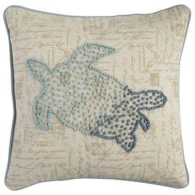 French Knot Sea Turtle Pillow - Aqua