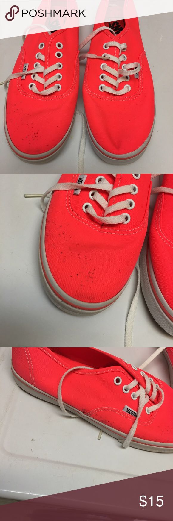 Coral Vans Used coral vans have some dark spots on front and side of one shoe as seen in the pictures. Not perfect condition but still lots of love left in them Vans Shoes Sneakers
