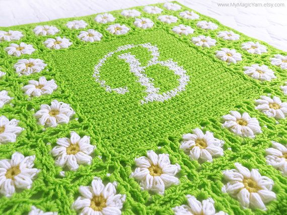 Crochet Pattern PDF, Personalized Crochet Baby Blanket Pattern, Daisy Baby Blanket, Afgan Blanket, Baby Shower Gift, Instant download PDF