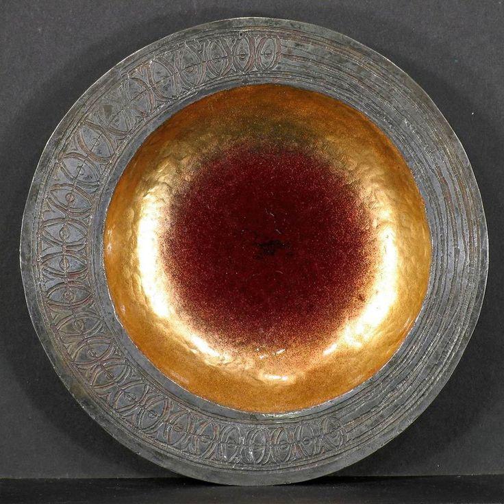 Italy Mid Century Enameled Acid-Etched Silver on Copper Plate, CELESTE GALLINARO #ArtModerne #Gallinaro