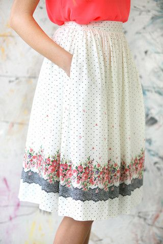 would like a midi skirt very similar to this look. I have a pink and white striped skirt I'd like to pair with one.