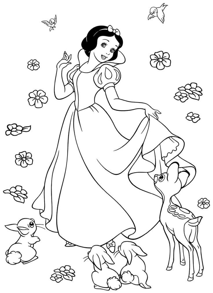 Snow white coloring pages with forest animals Snow white