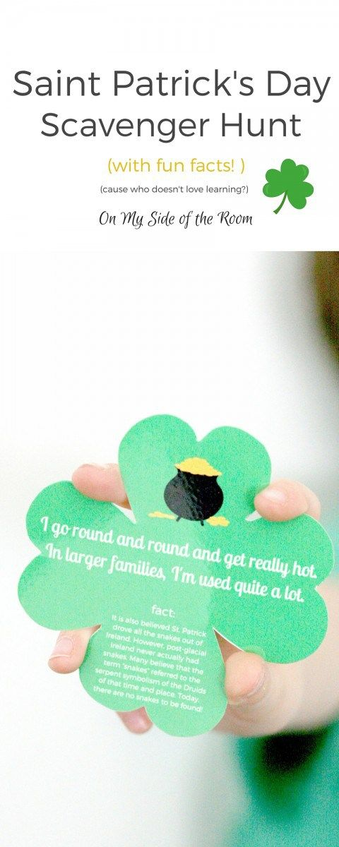 A fun easy St. Patricks Day activity for kids. A simple scavenger hunt with clues for around the house and fun facts about Ireland and St. Patricks Day. Printable, pin for later!