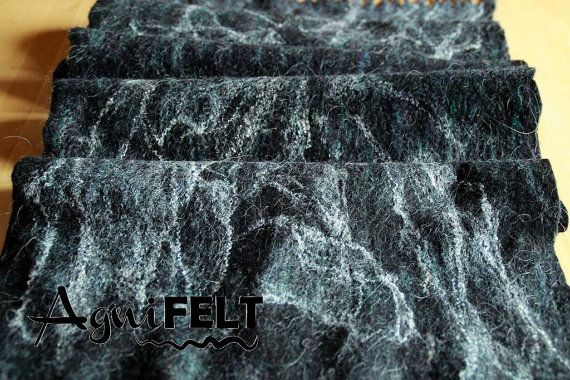 Black felted scarves for men. Made from 100% high quality merino wool and silk fibres.