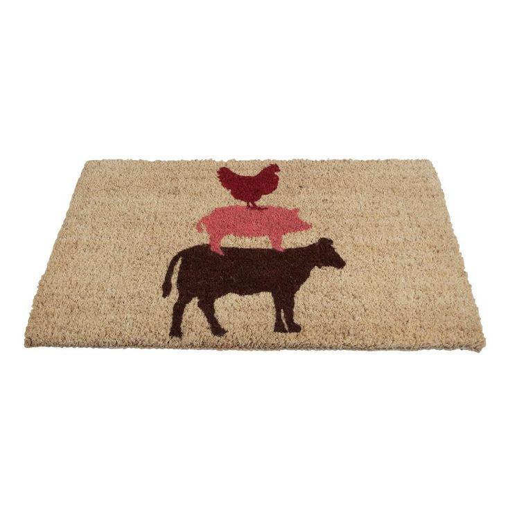 Stacked Farm Animals 18 in. x 30 in. Coir Door Mat, Multi