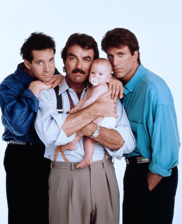 Peter Mitchell (Tom Selleck), Michael Kellam (Steve Guttenberg), Jack Holden (Ted Danson) and baby Mary Bennington (Lisa/Michelle Blair) ~ Three Men and a Baby (1987) ~ Movie Stills ~ #threemenandababy #80smovies #moviestills #comedies #80scomedies
