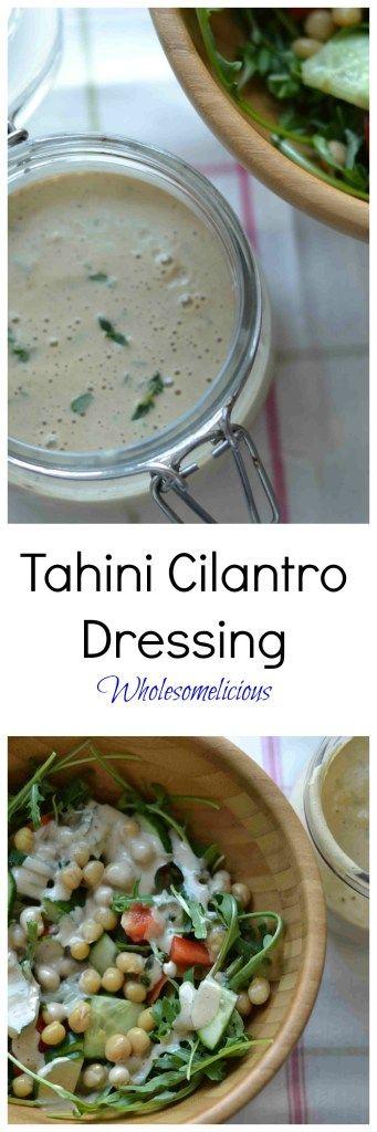 Sub tamari for coconut aminos to make whole 30 Tahini Cilantro Dressing Pin