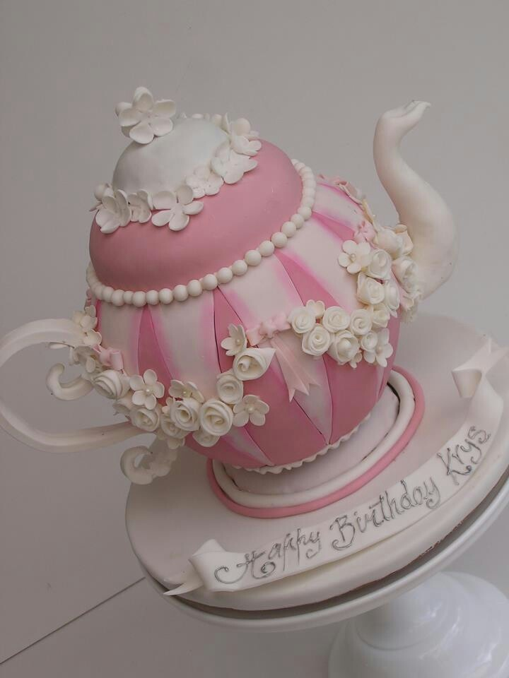 Tea Party Cake Images : .Pretty & elegant #Pink & #White #Teapot #Cake with # ...