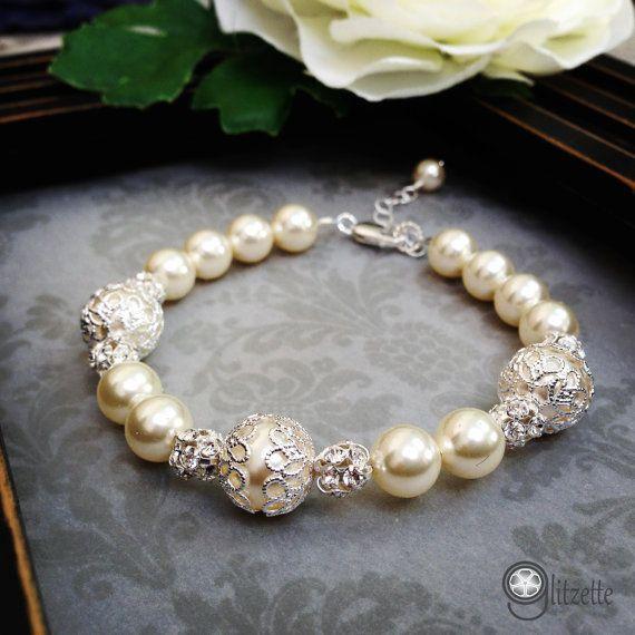 Bridal Bracelet Pearl Bridal Pearl Bracelet Mother of by Glitzette