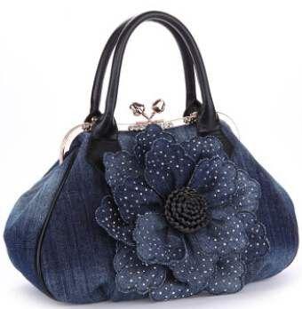 Vogue Star 2016 Top Quality Brand New Women Bag Fashion Denim Handbags Flower Shoulder Bags Design Womens Tote Bags LS376