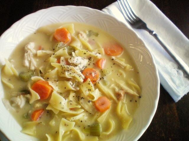{Crock Pot Creamy Chicken Noodle Soup}
