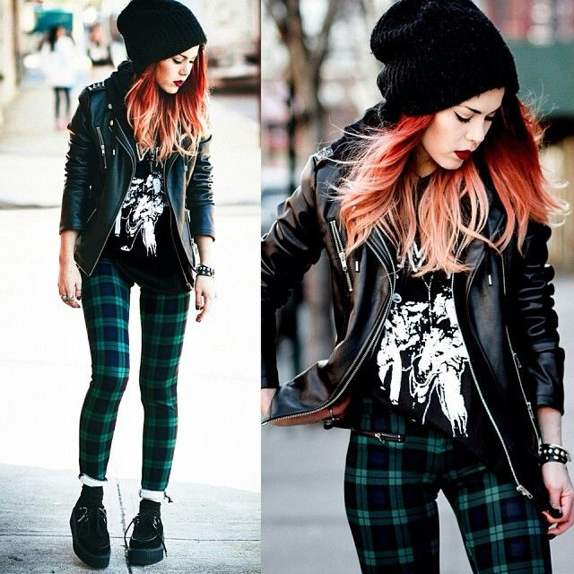 Perez cool edgy/rock outfit.red ombre hair.leather jacket.vintage band ...