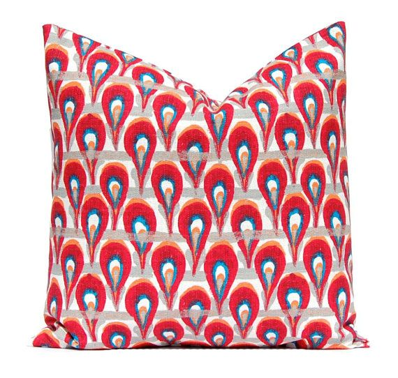 Pillow Cover Throw Pillow Cover Decorative by FestiveHomeDecor, $18.00 Chloe Poppy Birch Premier Prints Red Pillow Peacock Pillow