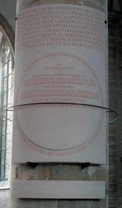 la Iglesia de San Pedro de Leiden una ceremonia singular: la recuperación (replica) de la lápida desaparecida de Ludolph van Ceulen, el matemático alemán afincado en Holanda que llegó a calcular 35 cifras decimales depi https://www.google.es/amp/s/mateturismo.wordpress.com/2010/05/27/pi-en-san-pedro-de-leiden/amp/