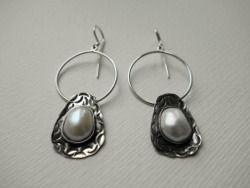 Sterling silver earrings with pearl Design&Handmade by K.Tokar