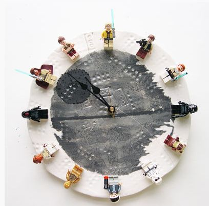DIY LEGO clock made with Star Wars minifigs. Our kids would flip!
