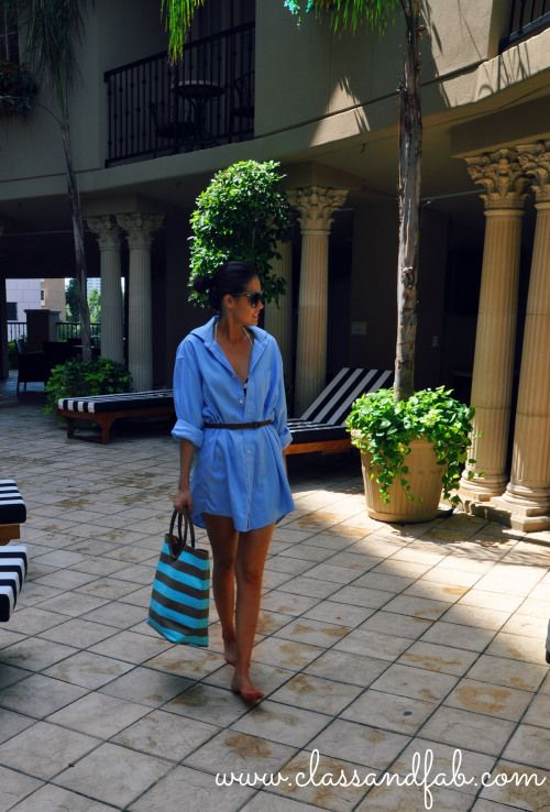 Hubby's Shirt as pool cover up   Photography: Julie {From Prosecco to Plaid} Location: ZaZa Hotel Houston Shirt: Brioni Swimsuit: Ralph Laurent {similar here} Bag: Neiman: Marcus Sunglasses: Chloe