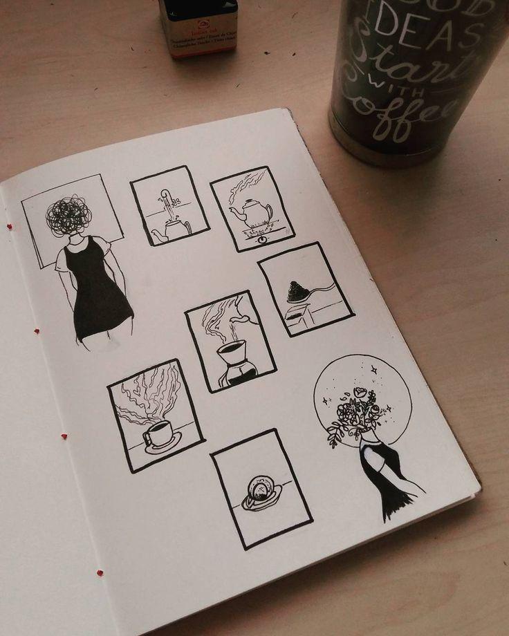 Café e nanquim #6 ☕. Quando estou muito ansiosa, sei que é hora de parar e preparar um café. Pra mim é como um ritual. Apreciar cada etapa, sentir o aroma, inspirar o vapor quente, e por fim beber com calma. Sempre limpa a mente 💜