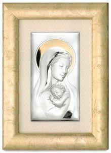 Srebrny obraz Matka Boska z Dzieciątkiem w złotej ramie, stanowi doskonały prezent dla nowożeńców z okazji ślubu. #slub #podziekowania_dla_rodzicow #jubileusz