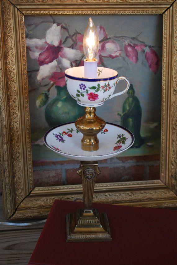 Best 25 tea cup lamp ideas on pinterest teapot lamp for Diy hanging tea light candle holders