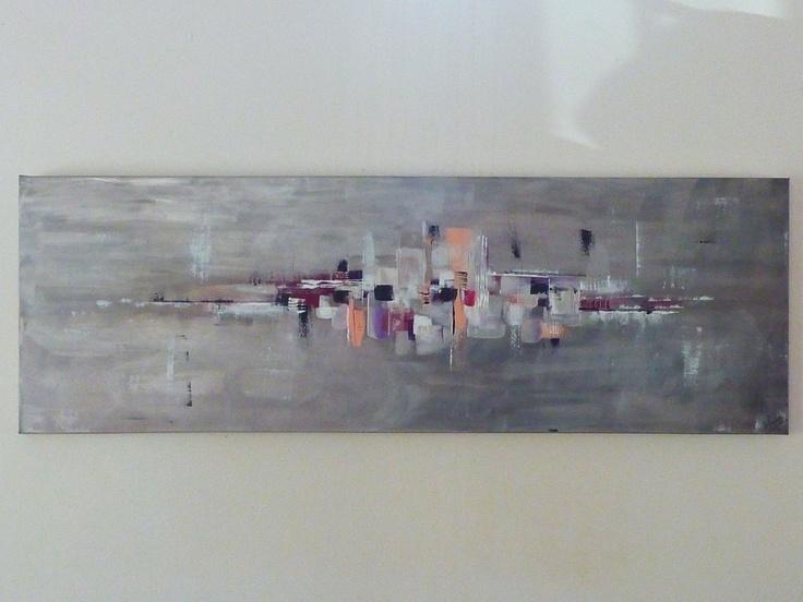 peinture abstraite contemporaine gris, gris argenté, rose, blanc, noi