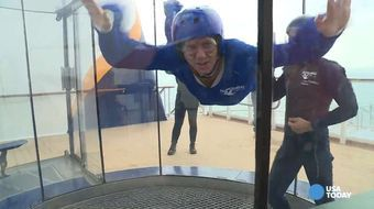 USA TODAY Reporter Gene Sloan may get to sail the world on the newest cruise ships, but he wasn't that thrilled about this assignment…trying out indoor skydiving perched on the edge of Royal Caribbean's Anthem of the Seas.