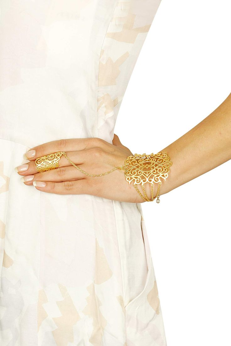 Gold plated filigree style shamerah available only at Pernia's Pop Up Shop.