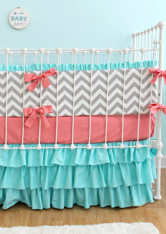Coral Turquoise Chevron Baby Bedding Custom Baby by LottieDaBaby