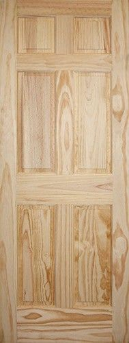 6 Panel Pine Interior Wood Door   Looks Great Stained Or Painted
