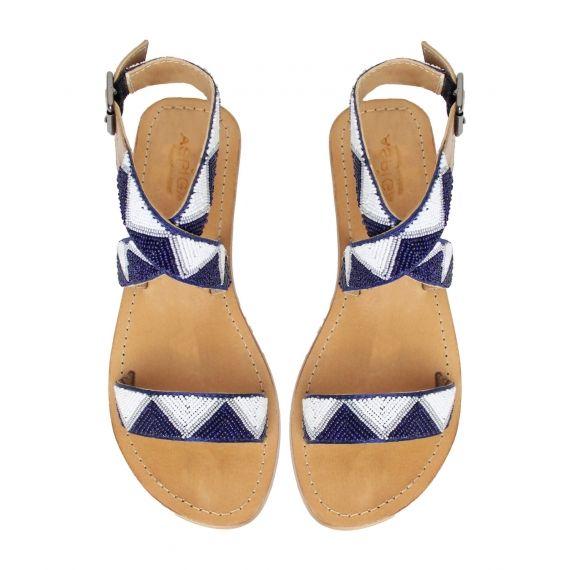 Chahana Blue Beaded Sandals
