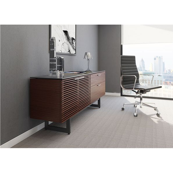 modern office credenza. Modern Office Credenza. Beautiful Bdi Corridor Chocolate Stained Walnut Credenza Furniture Intended