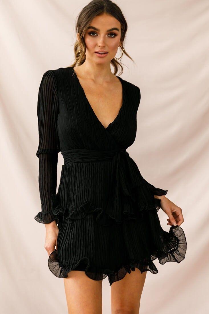Greta Tiered Ruffle Chiffon Dress Black Print Long Sleeve Chiffon Dress Long Sleeve Dress Classy Dress [ 1100 x 733 Pixel ]