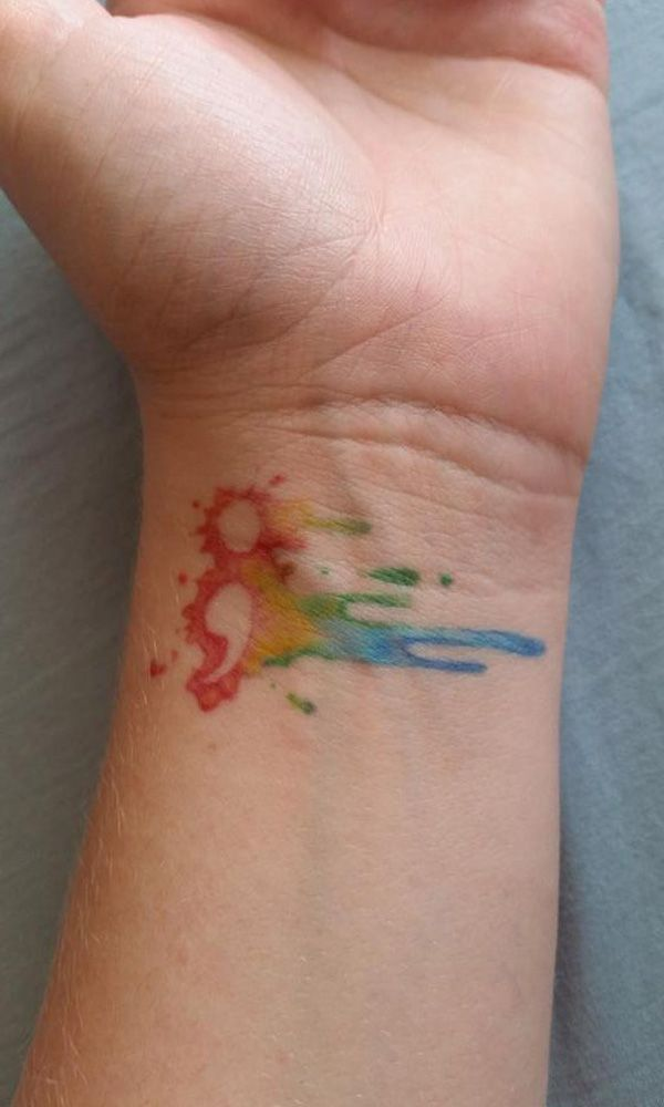 This one is like the other splash of rainbow colors, but this one is different since the colors are outlining the semicolon rather than having a black symbol and colors around it.