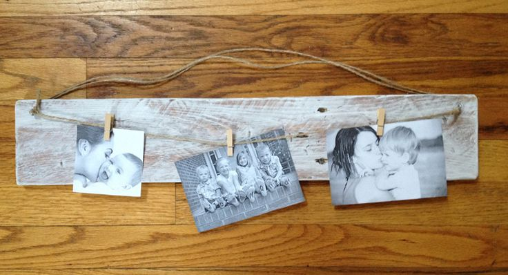 "19"" Pallet Photo Hanger with Pallet wood and Jute"