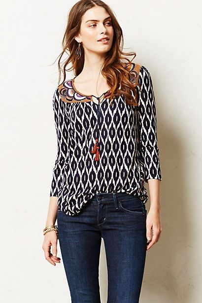 Tasseled Ikat Peasant Top #anthropologie  size small  (don't think it comes in petites)