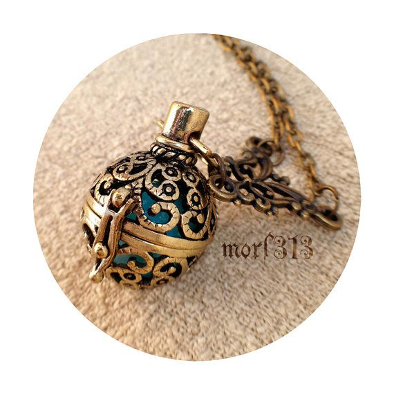 Vintage Victorian Locket Pendant Necklace. Ornament Decorative Medieval. Antique Bronze Keepsake Amulet. Talisman Magic Ball Magical Fantasy...