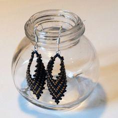 #0005 boucles d'oreilles en argent, de dorée, tissage peyote en perles miyuki