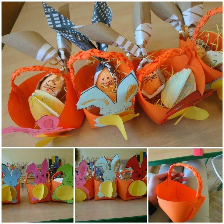 Koszyk wielkanocny królik z jajka, jajko 3D z papieru, koszyk z papieru, DIY ART ACTIVITIES FOR KIDS